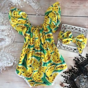 Other - Boutique Baby Girl Watermelon Romper & Headband